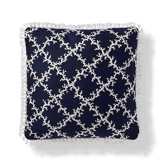 Coral Lattice Outdoor Pillow in Indigo