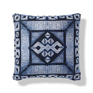 Moire Shibori Boxed Outdoor Pillow in Indigo