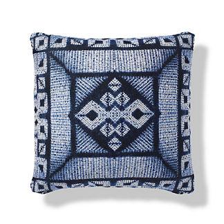 Moire Shibori Boxed Outdoor Pillow in Indigo