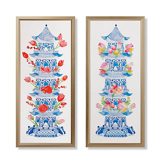 Watercolor Tulipiere with Flowers Giclee Print Diptych