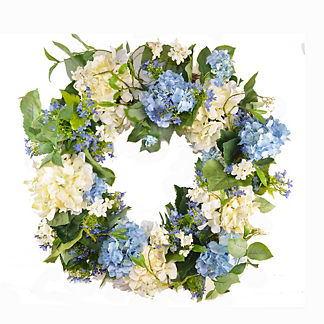 Cream & Blue Hydrangea Wreath