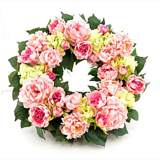 Pink and Green Hydrangea and Peony Wreath