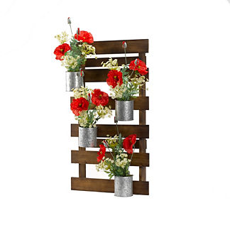 Red Poppies in Wooden Wall Slats