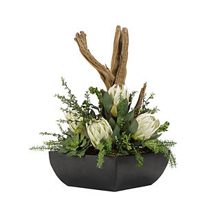 Proteas with Greenery and Driftwood