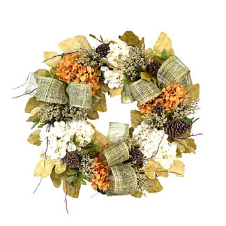 Hydrangea, Heather and Pine Cone Wreath