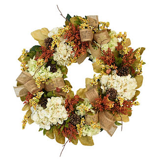 Hydrangea, Berry and Pine Cone Wreath