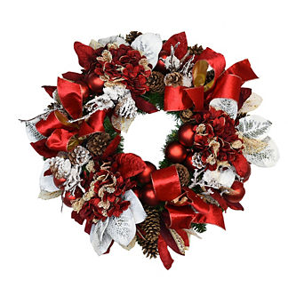 Snow Leaf and Red Ribbon Wreath