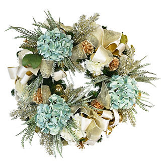 Holiday Wreath with Teal and White Hydrangeas