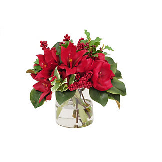 Amaryllis and Holly in Vase
