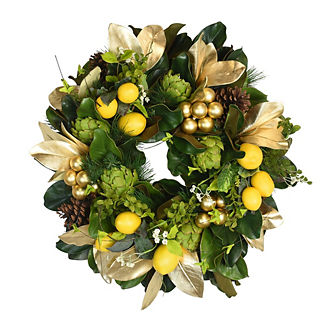 Magnolia Leaf and Lemon Wreath