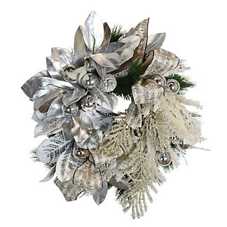 Silver Magnolia Flocked Wreath