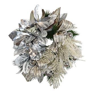 Silver Magnolia Flocked Wreath