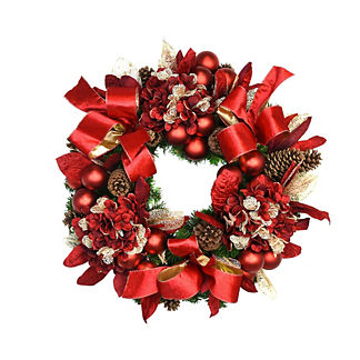 Red Hydrangea and Bows Wreath
