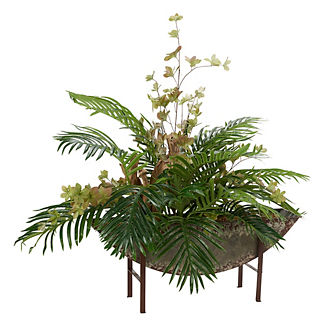 Hawaiian Palm Fronds in Half Moon Plant Stand