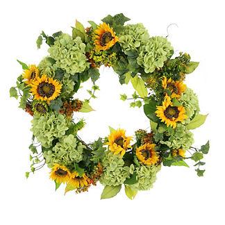 Hydrangea and Sunflower Wreath