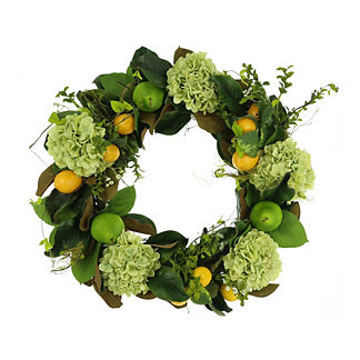 Magnolia Leaf, Lemon, Hydrangea and Pear Wreath