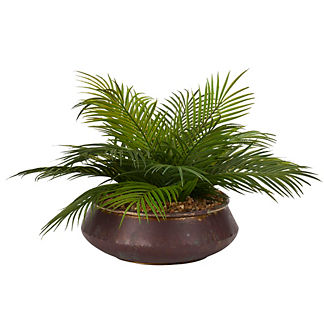 Palm Fronds in Aged Copper Bowl