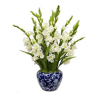 White Gladiolus In Bowl Vase