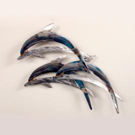 Dolphins on Waves Wall Art by Copper Art