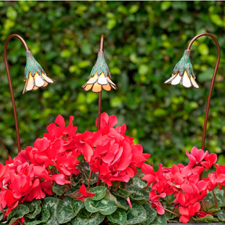 Set of Three Opal Glass Buttercup Garden Lights