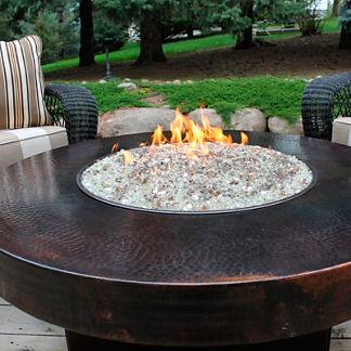 Oriflamme Round Hammered Copper Firepit