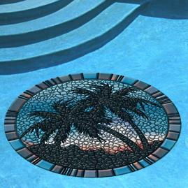 Blue Palm Trees Pool Mat