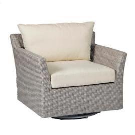 Club Woven Swivel Lounge Chair with Cushions by