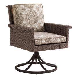 Tommy Bahama Blue Olive Swivel Rocker Dining Chair