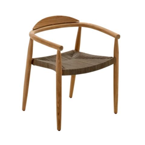 Dansk Teak Stacking Arm Chair With Wicker Seat