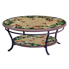KNF Caramel Hummingbird Round Double-Tiered Coffee Table
