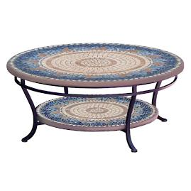 KNF Caribbean Sea Round Double-Tiered Coffee Table