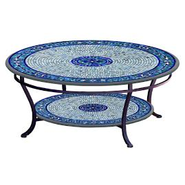 KNF Seafoam Atlas Round Double-Tiered Coffee Table