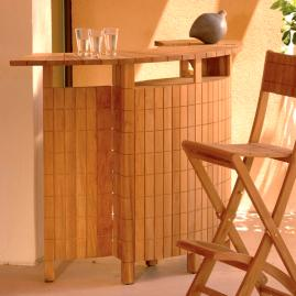 Demi Lune II Teak Folding Bar