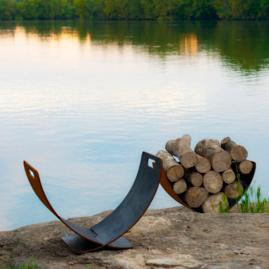 Wings of Flight Firewood Rack by Firepit Art