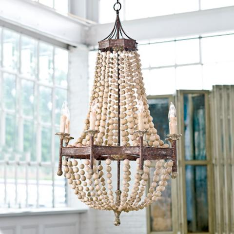 Scalloped wood bead chandelier frontgate scalloped wood bead chandelier aloadofball Image collections