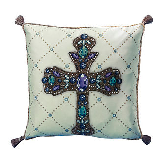 Gold and Granduer Cross Throw Pillow