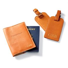 Monogrammed Leather Luggage Tags and Passport Holder