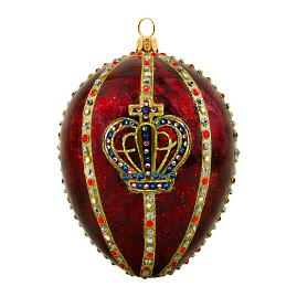 Glitterazzi International Red Crown Jeweled Egg Ornament