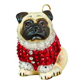 Diva Dog Pug Fawn in Crystal Coat Ornament