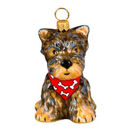 Yorkie Puppy with Bandana Ornament