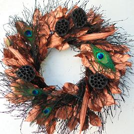 Copper Peacock Wreath