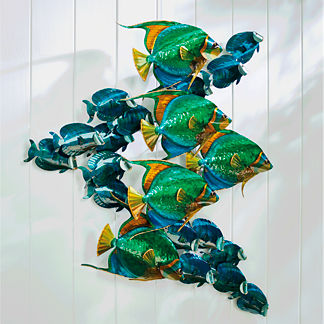 Angelfish and Blue Tang School Wall Sculpture by Copper Art