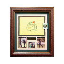 Phil Mickelson Signed 2010 Masters Flag Display