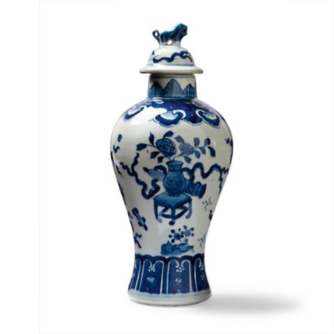 Blue And White Jars Part - 30: Ming Lidded Temple Jar