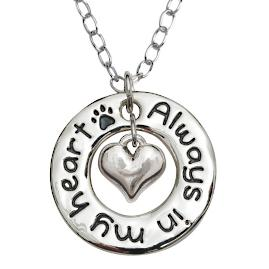 """Always in My Heart"" Pet Memorial Circle Necklace"