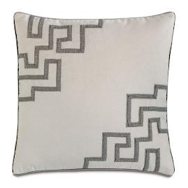 "Ezra 22"" Applique Gray Decorative Pillow"