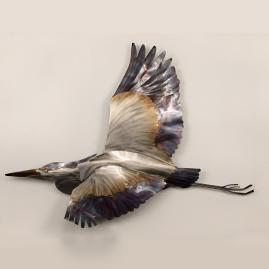Blue Heron in Flight Wall Art by Copper
