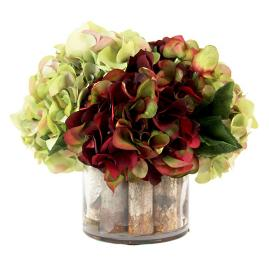 Burgundy and Green Hydrangea Centerpiece
