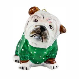 Diva Dog Bulldog in Green Snowy Sweater Ornament