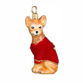 Diva Dog Chihuahua in Red Velvet Coat Ornament
